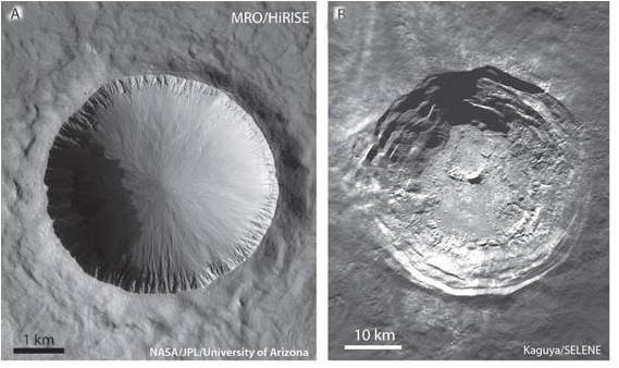 Simple and complex moon craters